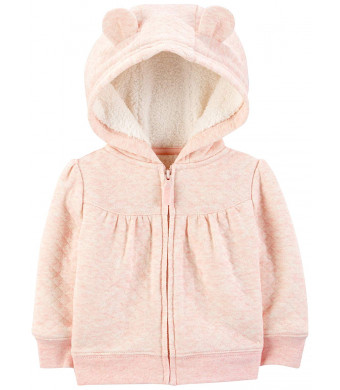 Simple Joys by Carter's Baby Girls' Hooded Sweater Jacket with Sherpa Lining