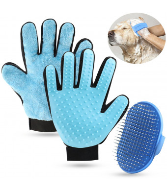 SGONE Pet Grooming Set, 2 in 1 Pet Grooming Glove with Pet Hair Remover Mitt for Furniture Small Slicker Brush for Dogs Cats - Long and Short Fur (Right Hand, Blue)