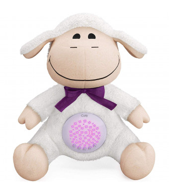 Baby Sleep Soother and White Noise Sound Machine with Stars Projector. New Baby Shower Gift, Unisex, Soft Stuffed Animal Portable Plush Toy for Crib and Travel, with 15 Melodies and Night Light Sleep Sheep