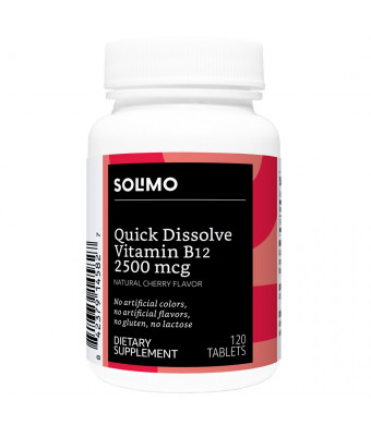 Amazon Brand - Solimo Quick Dissolve Vitamin B12 2500mcg, Natural Cherry Flavor, 120 Tablets, Four Month Supply