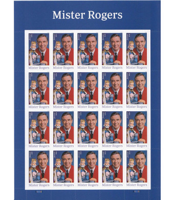 USPS Mister Mr. Rogers one Sheet of 20 Forever USPS Postage Stamp Celebration Children Party