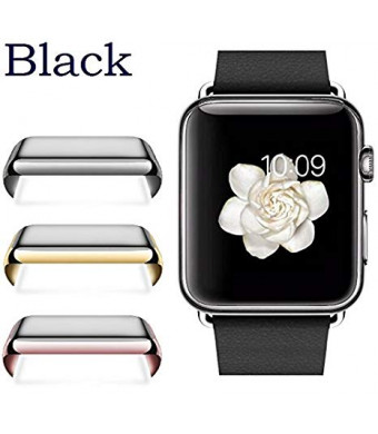 Josi Minea Apple Watch [ 38mm ] Protective Snap-On Case with Built-in Clear Glass Screen Protector - Anti-Scratch and Shockproof HD Shield Guard Full Cover for Apple Watch Series 2-38mm [ Black ]