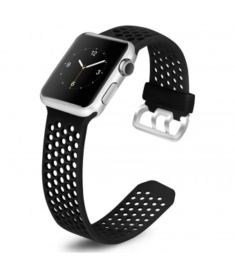 Mosstek Bands Compatible with Apple Watch 38mm 40mm 42mm 44mm, Soft Breathable Silicone Replacement Sport Strap with Air Holes Compatible Apple Watch Series 4/3/2/1