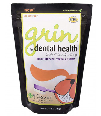 In Clover Grin Daily Dental Care Chews for Dogs, Grain Free Formula for Clean Teeth and Fresh Breath, Scientifically Formulated, Stop Plaque and Tartar with Antibacterials and Prebiotics