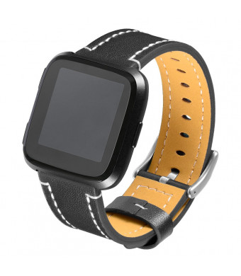 Aetnex For Fitbit Versa Leather Bands, Classic Genuine Leather Wristband Replacement Strap Accessories for Fitbit Versa Smart Watch Women Men Black