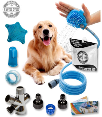 Wantedstuff 3 in 1 Pet Shower Kit with Free Dental Finger Brush | Dog Shower Sprayer, Adjustable Bath Glove, Clean, Massage and Remove Hair | Shower Attachment for Indoor and Outdoor Use | Pet-Friendly