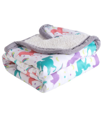 """Breathable Baby Blanket Print Fleece Best Registry Gift for Newborn Soft- Perfect for Prince and Princess 30"""" x 40"""" (Unicorn)"""