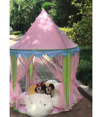 Miyaya Children Pop up Play Tent for Girls Princess Castle Indoor and Outdoor Use, with 25ft Snowflake LED Light + Carry Case