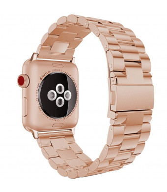 Scara Band for Apple Watch Bands for iWatch Series 3/2/1 Stainless Steel Loop Metal Replacement Accessories Bracelet Band for Women Men Silver Black Gold Rose Gold