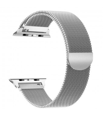 Scara Band for Apple Watch Bands 38mm iWatch Series 3/2/1 Milanese Stainless Steel Loop Metal Replacement Accessories Bracelet Band with Unique Magnet Lock (Sliver) (Silver, 38MM)