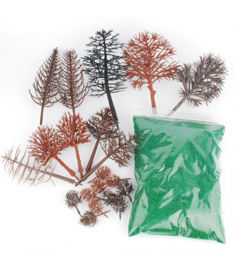 NWFashion Bare Plastic Tree for Model Train Railways Scenery Building Landscape (20pcs Tree+80G Grass)