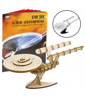 """IncrediBuilds Star Trek Original U.S.S. Enterprise Book and 3D Wood Model Kit - Build, Paint and Collect Your Own Wooden Model - Great for Kids and Adults,10+ - 7.5"""" x 9"""""""