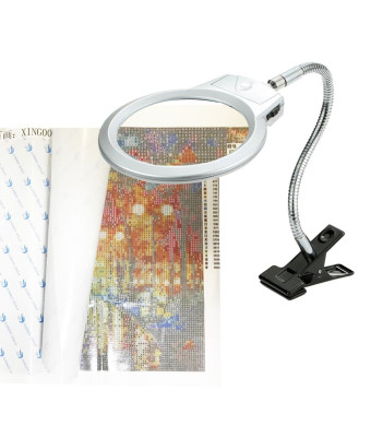 5D Diamond Painting Tools Magnifier LED Light with Clamp, Folding Design with 2 Glass Lens 4X and 6X Magnifier for DIY 5D Diamond Painting Kits for Adults by Number Kit