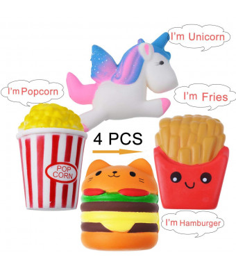 Aboom Squishy Toy Slow Rising Toy, Sweet Scented Squishy Anxiety Stress Relief Toys,Unicorn,Fries, Cat Hamburger and Popcorn (4pcs)