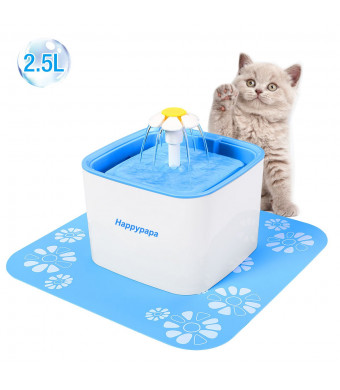 [Newest 2018 Upgraded] Cat and Dog Fountain Healthy and Hygienic 2.5 L Pet Fountain Ultra Quiet Cat and Dog Flower Fountain Suit for Cats Dogs Birds and Small Animals