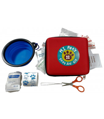 M.I. Pet's - 76 Piece Pet First Aid Kit with a Collapsible Food or Water Bowl
