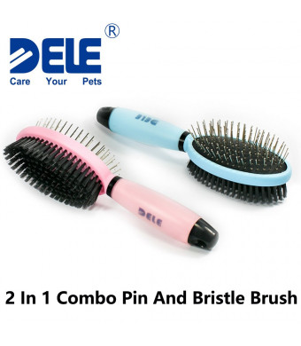DELE Pet Grooming Brush, 2 in 1 Brush, Pin Brush for Grooming and Bristle Brush for Cleaning, Brush for Dogs and Cats, Anti Slip Silicone Gel Handle with Hanging Hole, Practical and Durable