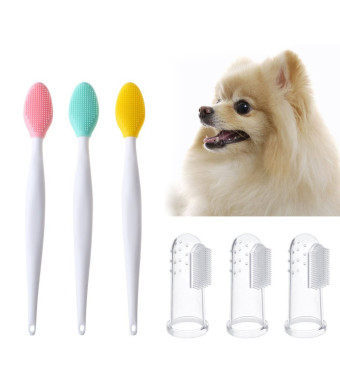 MissLytton Dog Toothbrush, Pet Cat Finger Toothbrush and Double-sided Soft Silicone Brushes Kit, Sensitive Dental Hygiene Care Brush Keeps Teeth Gums Clean, Healthy (6PCS)