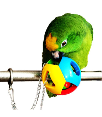 Hypeety Parrot Colorful Ball Toys Cage Hanging Chewing Drew Hanging String Toy with Bell for Parakeet Conure Cockatiel Small medium birds
