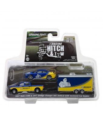 2017 Ram 2500 and 2017 Dodge Charger SRT Hellcat Michelin Tires with Enclosed Car Hauler Racing Hitch and Tow Series 1 1/64 Diecast Models by Greenlight 31050 B