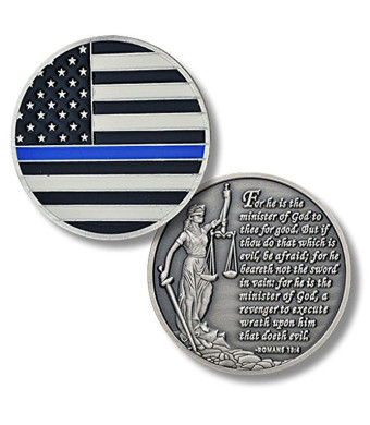 Thin Blue Line Police Blue Lives Matter Challenge Coin