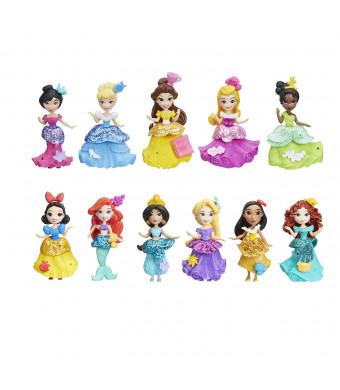 Disney Princess Little Kingdom Doll Collection, 11 Small Dolls with Glitter Dresses and 22 Snap-ins Accessories, Toy for 4 Year Olds and Up