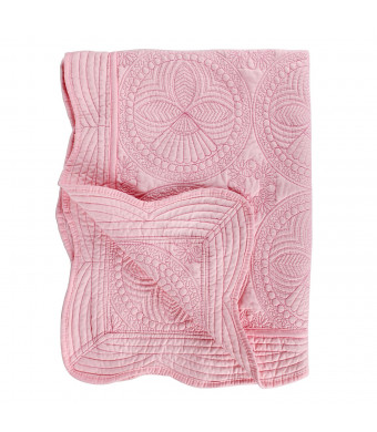 """Toddlers and Baby Personlized Quilt Lightweight Blanket Embossed Cotton Quilt Four Seasons Scalloped 36"""" x 46"""" Newborn Baby Boy/Girl Gift (Pink)"""