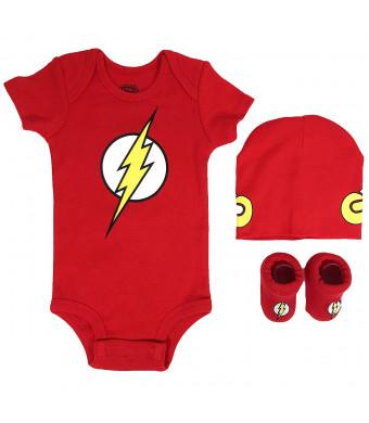 DC Comics Baby Boy's Superman, Wonder Woman, Flash, Batman 3-pc Set in Gift Box Baby Costume