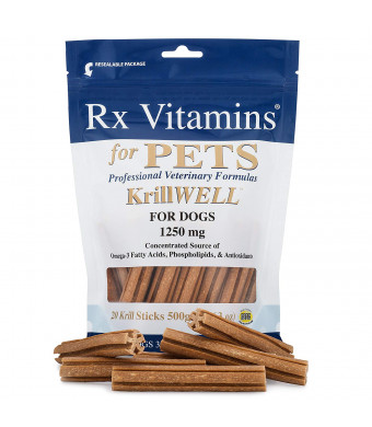RX Vitamins Omega 3 Krill Fish Oil Sticks for Dogs - Phospholipid Bound Omega-3 and Astaxanthin - Qrill Pet Krill Meal for Amazing Skin and Coat, Reduced Inflammation and Allergy Relief