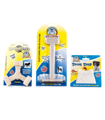 Bullibone Nylon Dog Chew Toy Bacon Sample Pack - Improves Dental Hygiene, Easy to Grip Bottom, and Permeated With Flavor