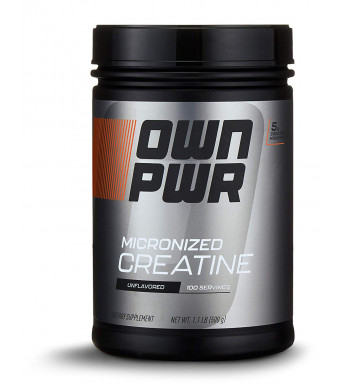 OWN PWR Micronized Creatine Monohydrate Powder, Unflavored, 500g, 100 servings