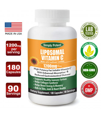 Liposomal Vitamin C 1200mg 180 Capsule 90 Serving Non GMO Vitamin C Natural Vegan High Bioavailable Vitamin C High Dose Fat Soluble Antioxidant Supports Immune System, Collagen, Skin and Heart.