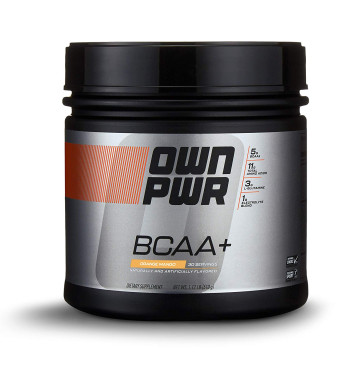 OWN PWR BCAA+ Powder, Orange Mango, 30 Servings, Micronized Branched Chain Amino Acids with Glutamine, Electrolytes and More
