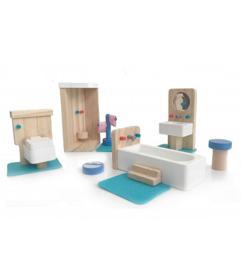 london-kate Bathroom DOLLHOUSE FURNITURE SET - Miniature Bathroom Furniture Dollhouse Decoration 5-piece accessories with sink, shower, bath tub, and toilet