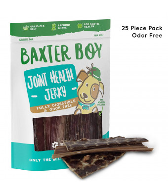 Baxter Boy 6 Joint Health Beef Jerky Dog Treat Chews (25 Pack)  Gourmet, Fresh and Tasty Beef Gullet Jerky - Naturally Rich in Glucosamine and Chondroitin - Promotes Healthy Joints and Tissue Growth