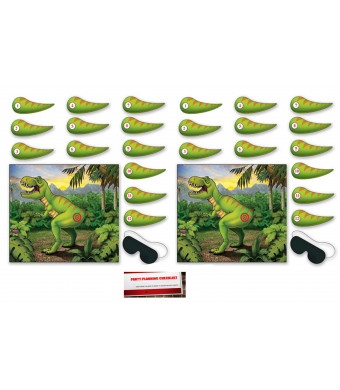 2 Pack Pin The Tail On The Dinosaur Game 18 x 21 Inches - 2 Masks and 24 Tails Included (Plus Party Planning Checklist by Mikes Super Store)