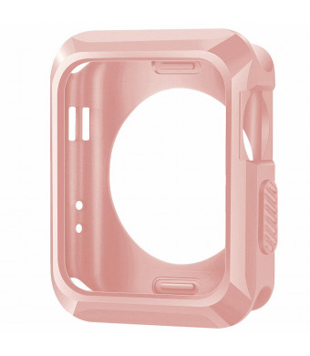 iiteeology Compatible Apple Watch Case, 38mm Universal Slim Rugged Protective TPU iWatch Case for Apple Watch Series 3 Series 2 Series 1 -Rose Gold
