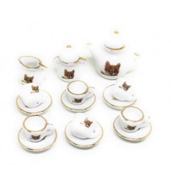 Dollhouse Miniature Food,Tiny Food Collectibles (Tea Pot Set (Cute Cat))