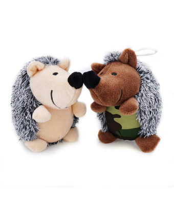 Aviling Squeaky Soft Plush Dog Puppy Toys Squeaker Hedgehog Tough Durable Teeth Chew Training Playing Toys for Dogs 2 Pack