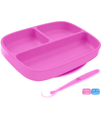 Silicone Suction Plate + Spoon for Toddlers, BPA Free, Dishwasher, Microwave and Oven Safe, Non Slip, One-Piece Divided Baby Placemat, Stay Put Bowls and Feeding Dishes for Kids/Infant (Pink)