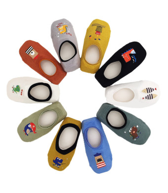 Toddler Non Skid No Show Socks - Low Cut Anti Slip Grip Slippers for Baby Kids Boys Girls 10 Pairs