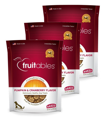 Fruitables Baked Dog Treats Pumpkin and Cranberry Flavor (3 Pack) 7 oz Each