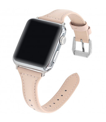 Falandi Competible for Apple Watch 40mm 38mm Bands Series 4, 3, 2, 1, Slim Retro Genuine Leather Replacement Strap with Stainless Steel Clasp for Women for iWatch All Edition (Beige Pink, 38/40mm)