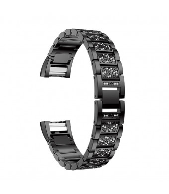 For Fitbit Charge 2 Bands, Aottom Fitbit Charge 2 Watch Band Stainless Steel Rhinestone Glitter Replacement Band Wrist Bands Metal Buckle Bracelet for Fitbit Charge 2 Fitness Accessories