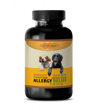 BEST PET SUPPLIES LLC Dog itching Skin Relief Supplements - Advanced Allergy Relief - for Dogs ONLY - Healthy Immune Response - CHEWABLE - quercetin for Dogs - 75 Chews (1 Bottle)