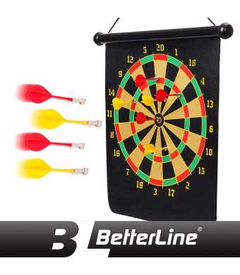 BETTERLINE Magnetic Dart Board Game Set - 16 x 19 Inch (41.5x47.5cm) Roll-up Board with 6 Darts - Child and Furniture Safe Dartboard for Kids and Adults by Better Line
