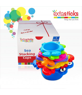 Stacking Cups Set for Babies and Toddlers - 8 sea Animals to Play in Sand and Water - Bath Toys - Educational Multicolored Beach Toy for Boys and Girls 100% Safe - BPA Free