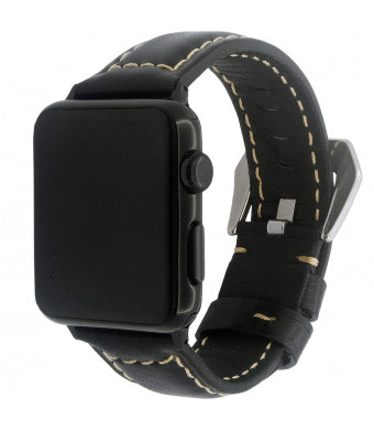 Quick Replacement Watchband Compatible with Apple Watch Band 38mm 40mm, Genuine Leather Strap for iWatch Loop Series 4 3 2 1, A2YOYO, 38/40 Black