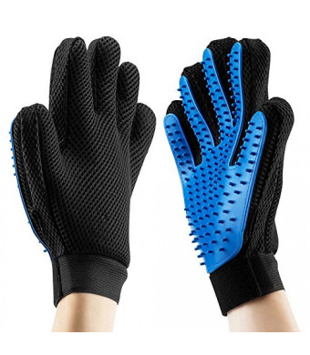 Pet Hair Removal Glove|Pet hair glove deshedding|Pet Hair Remover Glove| 2 in 1 Tool Brush Glove |Grooming Furniture Carpet | Long And Short Fur |Brush Massage Size M(6.7x9.6 inches) Right Hand -Blue