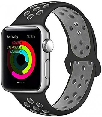 Penom For Apple iWatch Band Sport Silicone Wristbands Replacement Strap, 38mm, Black/Gray S/M